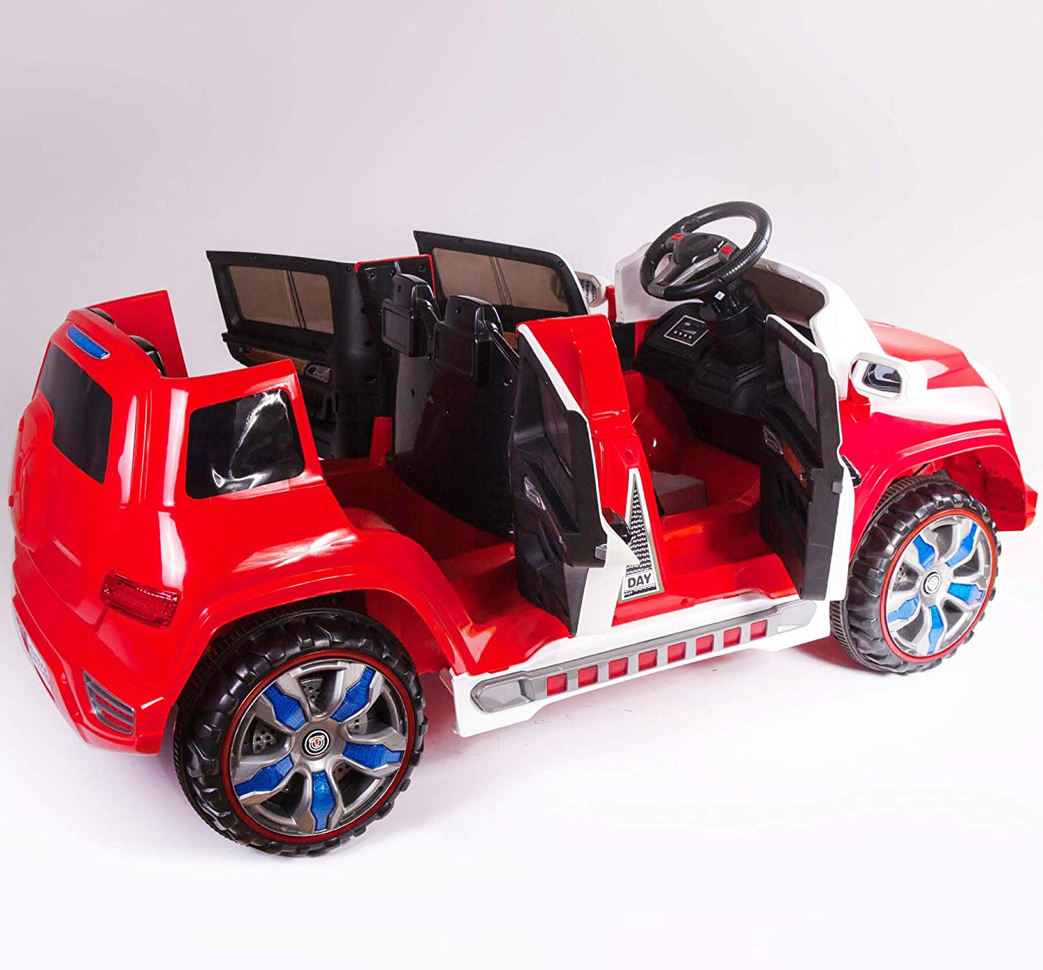 4 Door Ride On Two Seater Fire Truck Electric Toy Car For Kids 12v Bat Kidone Store
