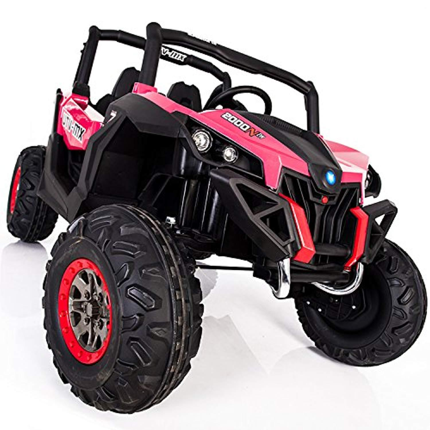 2 Seater Buggy Quad Bike All Wheels 4WD Drive Ride On Kids Electric Toy Car 2x12V Battery Powered LED Lights MP3 USB RC Parental Remote Green