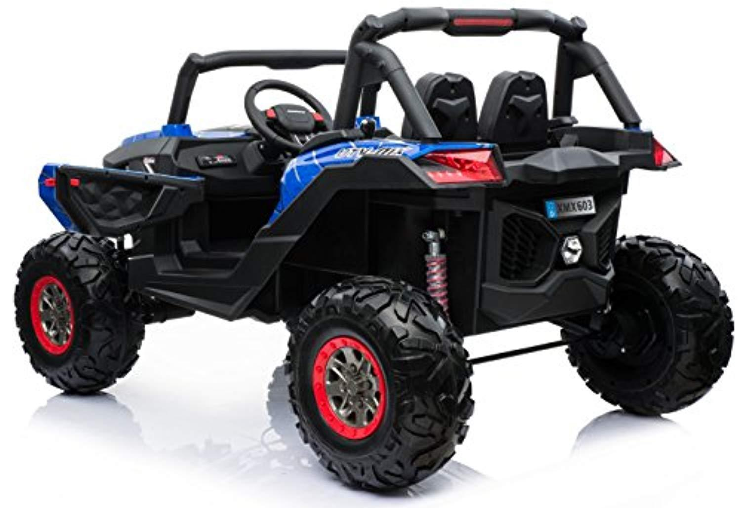 2 Seater Buggy Quad Bike All Wheels 4WD Drive Ride On Kids Electric Toy Car 2x12V Battery Powered LED Lights MP3 USB RC Parental Remote Blue