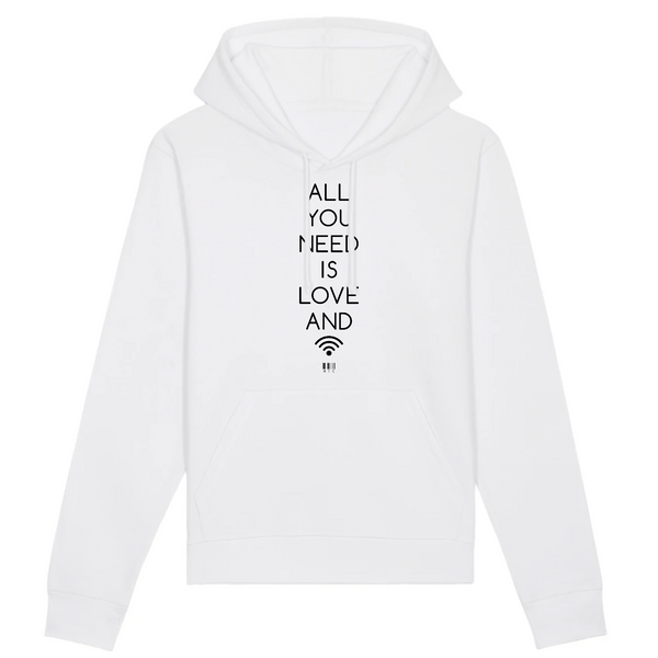 Sweat à Capuche - All you need is love and Wifi - Unisexe - Coton Bio - Mode éthique-Mets ta Capuche-XS-Blanc-