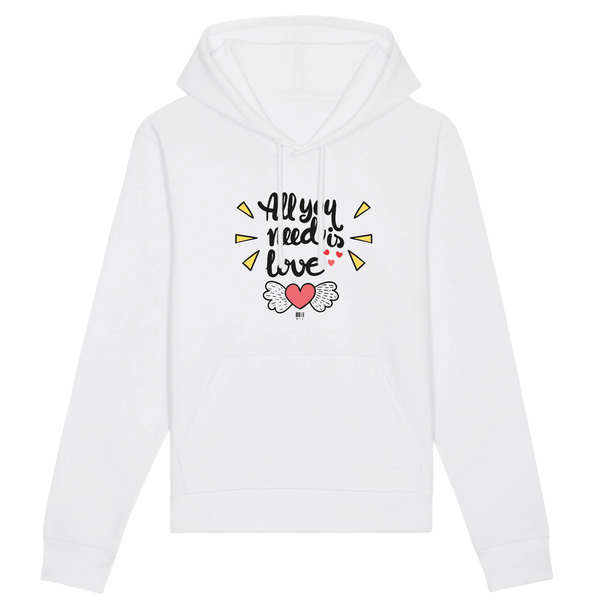 Sweat à Capuche - All you need is Love - Unisexe - Coton Bio - Mode éthique-Mets ta Capuche-XS-Blanc-