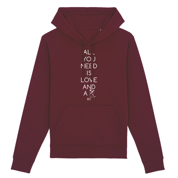 Sweat à Capuche - All you need is Love and a Dog - Unisexe - Coton Bio - Mode éthique-Mets ta Capuche-XS-Bordeaux-