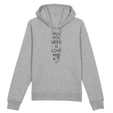 Sweat à Capuche - All you need is Love and a Dog - Unisexe - Coton Bio - Mode éthique-Mets ta Capuche-XS-Gris-