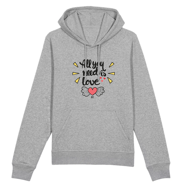 Sweat à Capuche - All you need is Love - Unisexe - Coton Bio - Mode éthique-Mets ta Capuche-XS-Gris-