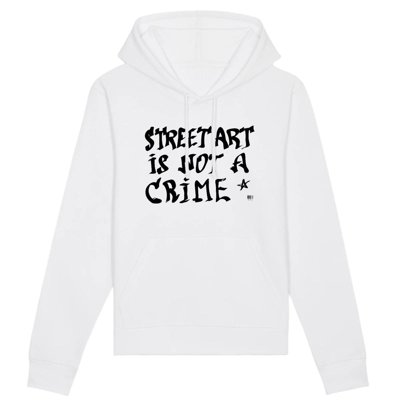 Sweat à Capuche - Street Art is not a Crime - Unisexe - Coton Bio - Mode éthique-Mets ta Capuche-XS-Blanc-
