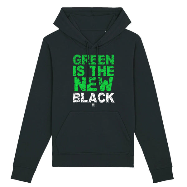 Sweat à Capuche - Green Is The New Black - Unisexe - Coton Bio - Mode éthique-Mets ta Capuche-XS-Noir-