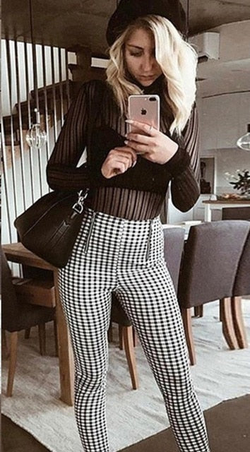 Fashion High Waist Elastic Harem Red Yellow Plaid Pants Women Casual Skinny Ankle-length Capris Pencil Pants Trouser