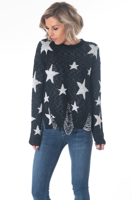 So Distressed Star Sweater