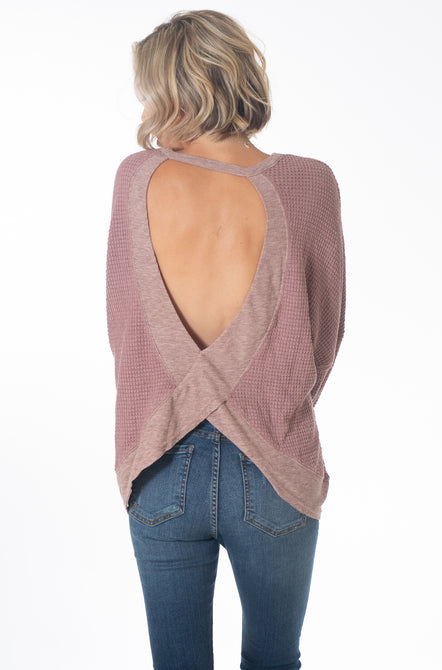 Waffle Knit Open Back Top