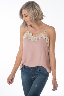 Rose Pink Lace Cami