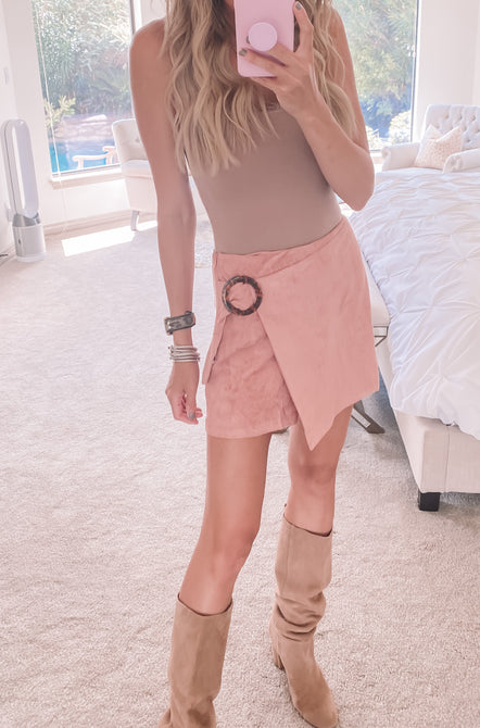 Walk This Way Suede Skirt