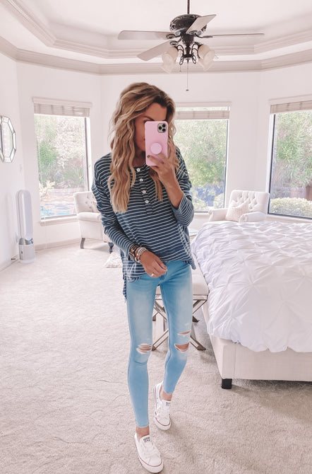 Denim Striped Henley Top