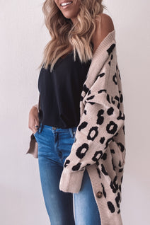 Button Front Leopard Cardigan