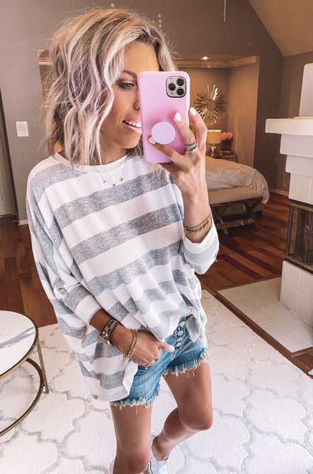 Grey Skies Striped Pullover