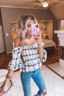 Don't be a Square Plaid Peplum Top