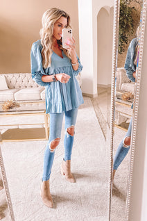Lovely Day Steel Blue Tunic Top