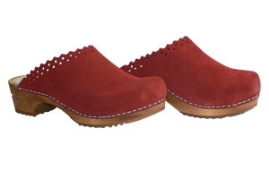 Sanita Coral Kat Suede Wood Clogs - two