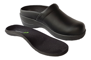 Wellness Faves Open Clog - most comfortable nursing shoe diagonal view with orthotic