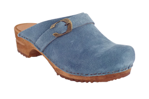 Sanita Helle suede wood clogs diagonal view