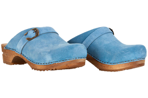 Sanita Helle suede wood clogs two