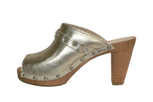 Sanita Penny fashion sandals with gold leather and diamantes - side view