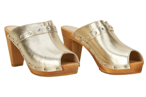 Sanita Penny fashion sandals with gold leather and diamantes - two diagonal view