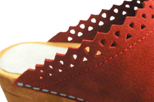 Sanita Coral Kat Suede Wood Clogs - close up