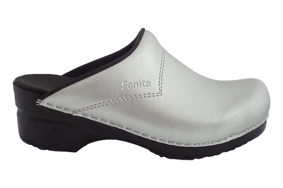 Sanita Silver San Flex Clogs easy clean for nurses - diagonal view