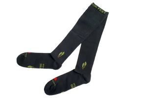 Charcoal bamboo compression socks on trans background