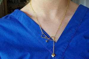 Stethescope Tie Necklace in pretty gold | best nurse student gift