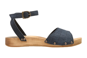 Tilly Sanita Wood Sandal Navy side view