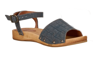 Tilly Sanita Wood Sandal Navy diagonal view