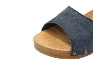 Tilly Sanita Wood Sandal Navy close up view