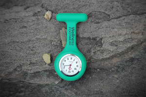 Nurse watch - silicone easy read face - green