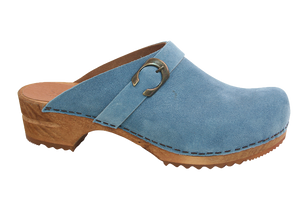 Sanita Helle suede wood clogs