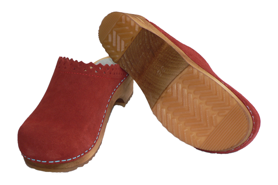 Sanita Coral Kat Suede Wood Clogs diagonal view