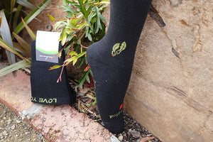 Charcoal bamboo compression socks - close up toe area
