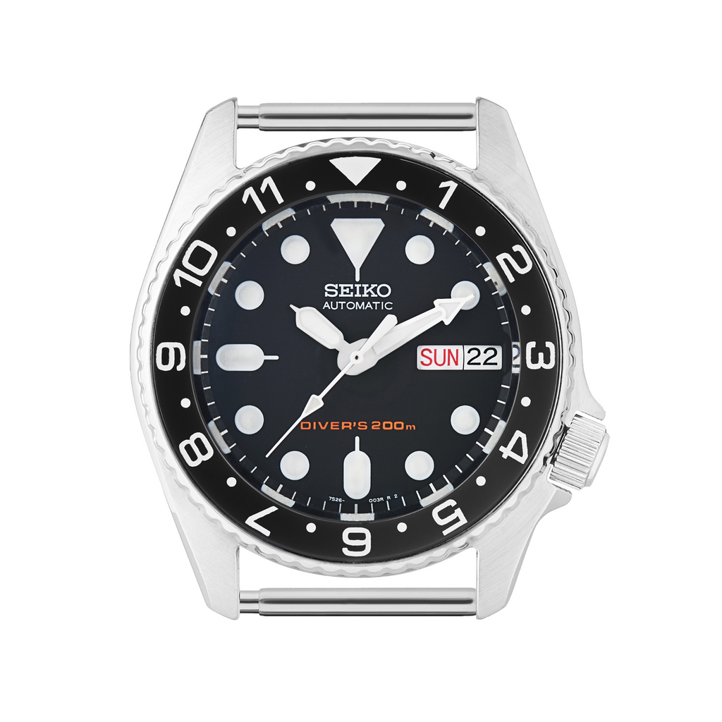 SKX013 Ceramic Bezel Insert: Dual Time style Black/White