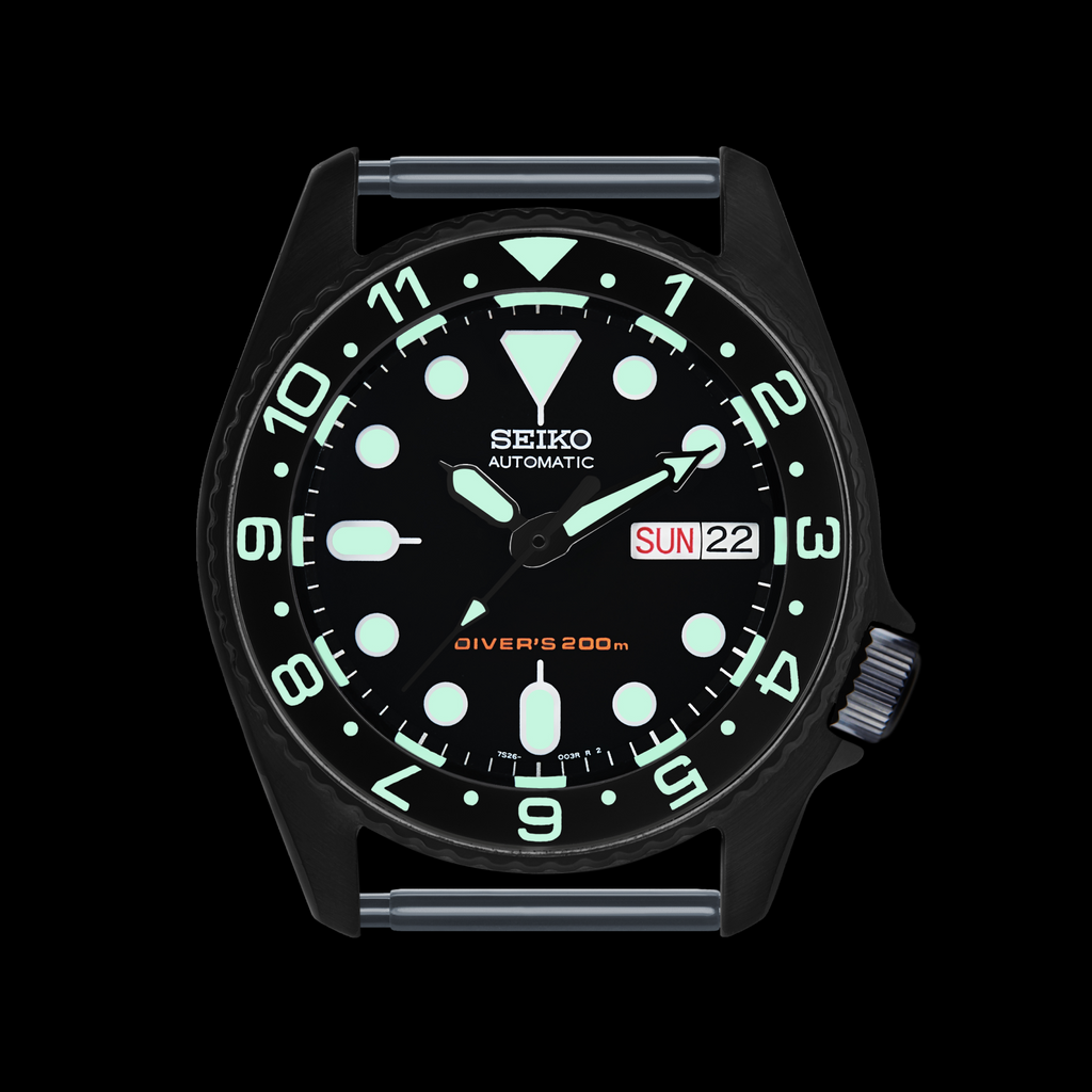 SKX013 Lumed Ceramic Bezel Insert: Dual Time style Black/White