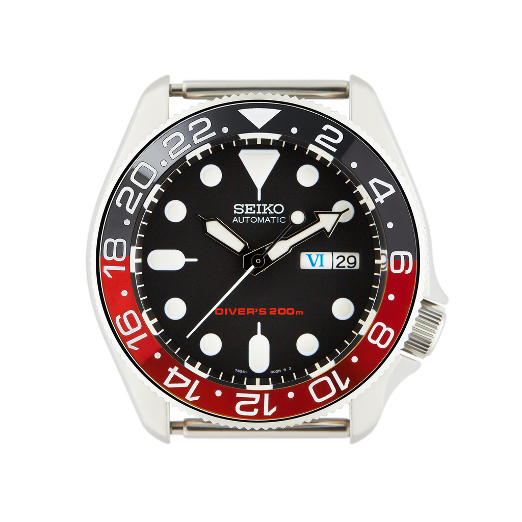 SKX007/SRPD Ceramic Bezel Insert: GMT style Red/Black (Coke)