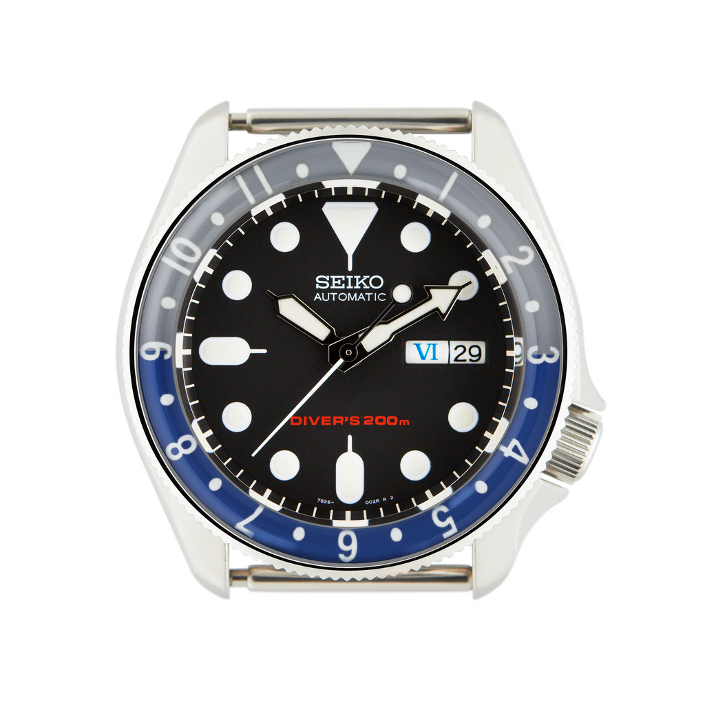 SKX007/SRPD Lumed Glass Bezel Insert: Vintage Dual Time Style Batman