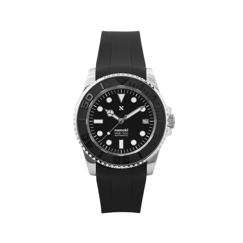 NMK01 Automatic Dive Watch: YM Black with Fitted Rubber Strap