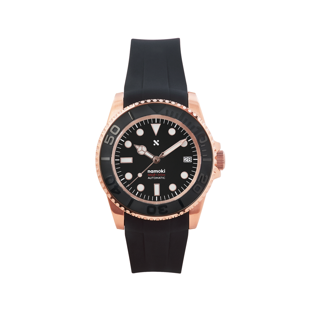 NMK03 Automatic Dive Watch: YM Rose Gold with Fitted Rubber Strap