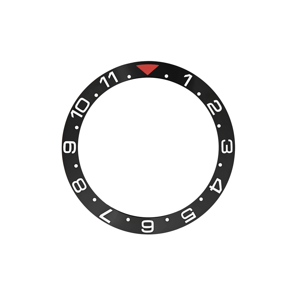 SKX Ceramic Bezel Insert: Dual Time style Black/Red for SKX007 SKX009