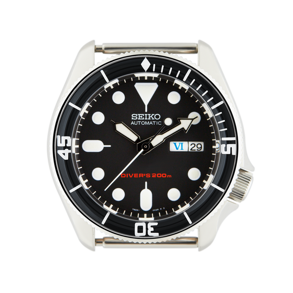 SKX007/SRPD Glass Bezel Insert: Fifty Fathoms Style Black/White