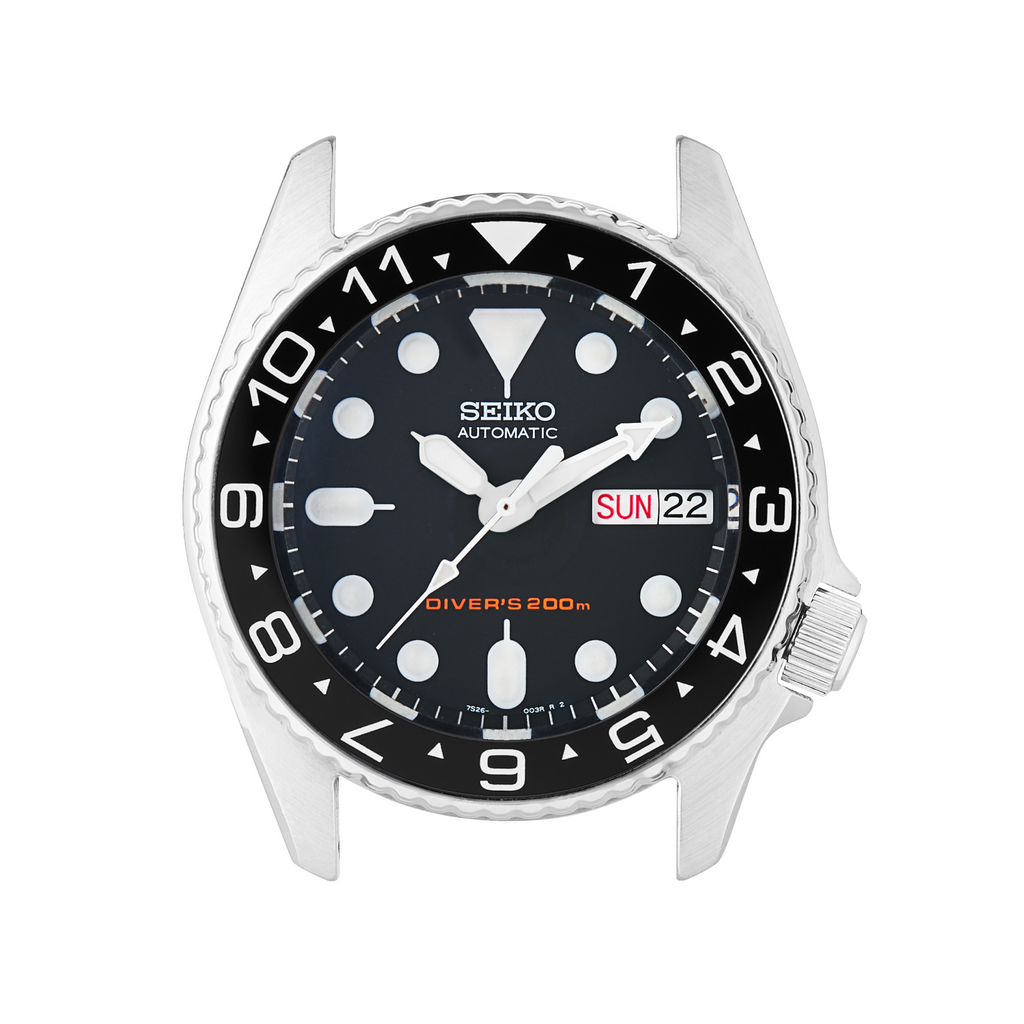 SKX013 Ceramic Bezel Insert: Dual Time (Arrows) Black/White