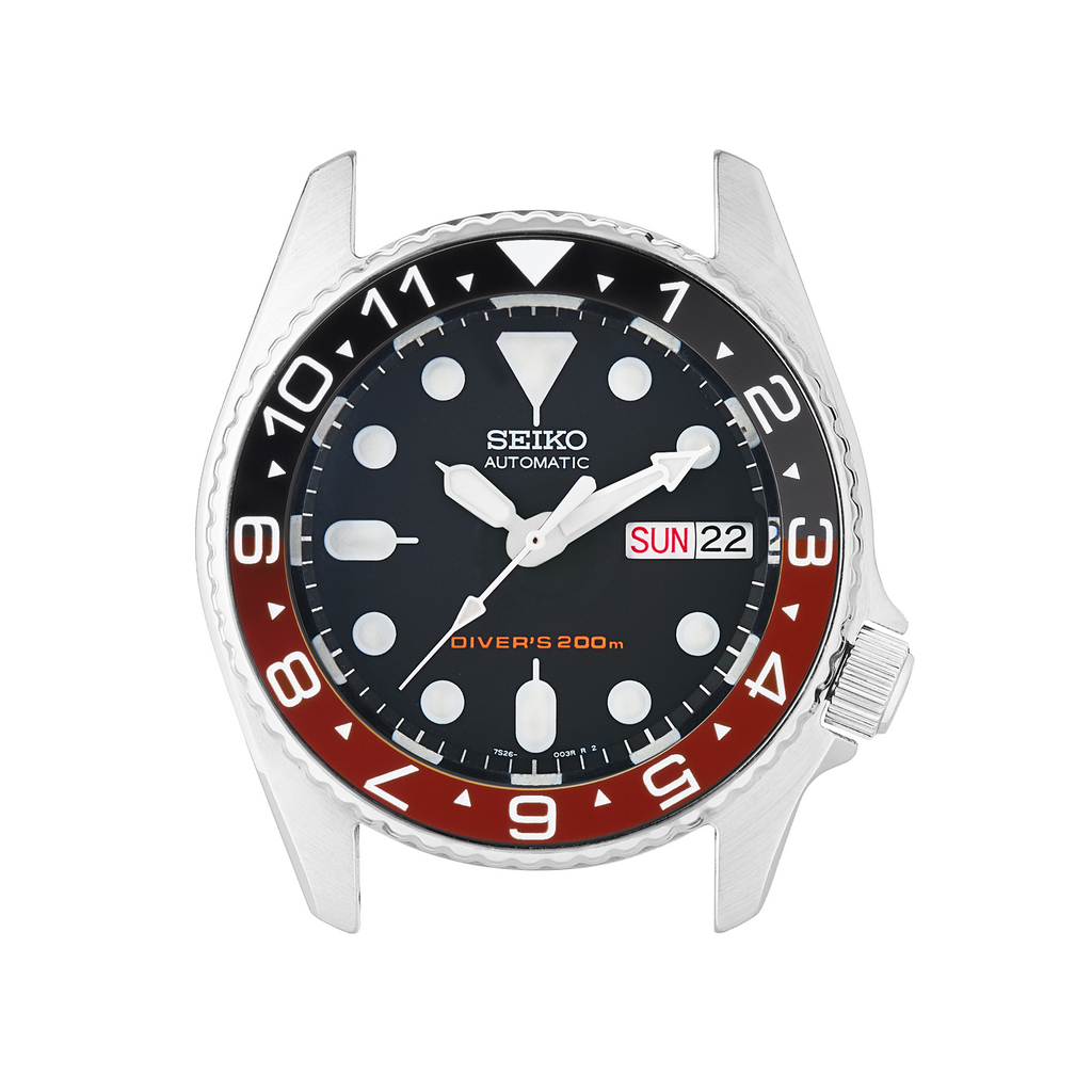 SKX013 Ceramic Bezel Insert: Dual Time Style Black/Red (Coke)