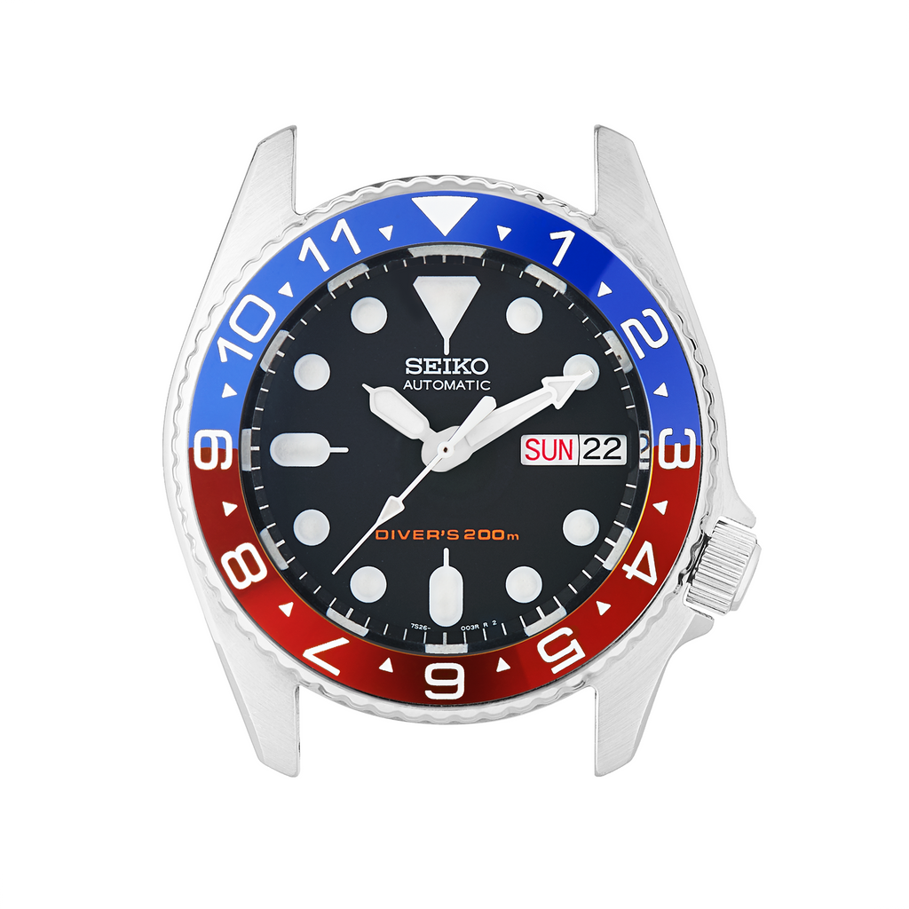 SKX013 Ceramic Bezel Insert: Dual Time Style Red/Blue (Pepsi)