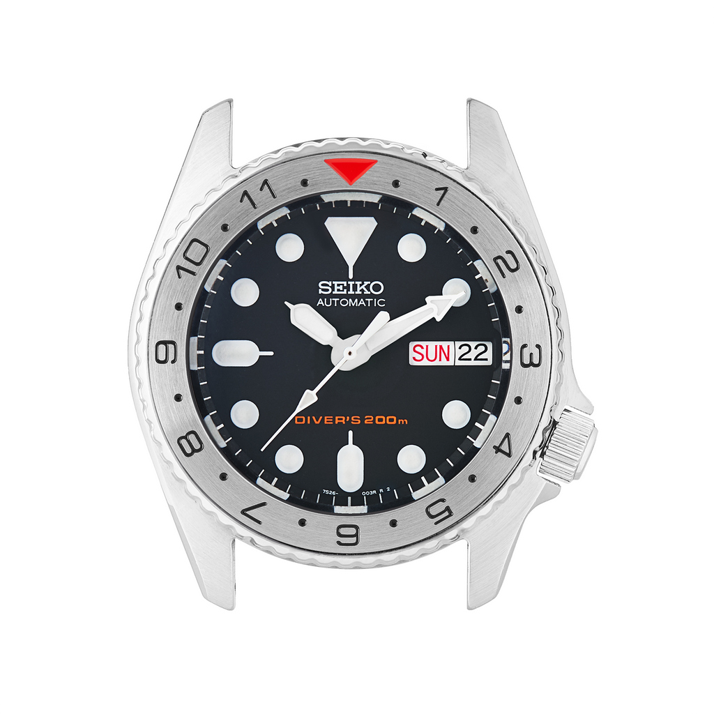 SKX013 Steel Bezel Insert: Dual Time Style Red