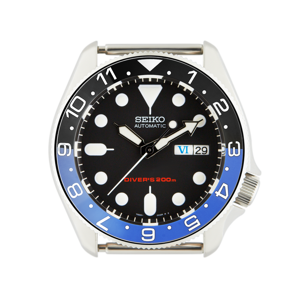 SKX Ceramic Bezel Insert: Dual Time style Black/Blue (Batman) for SKX007 SKX009